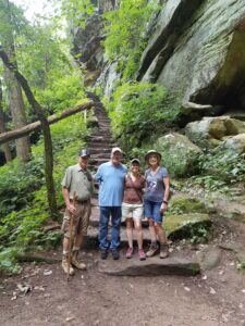 Hikers at Rock House steps